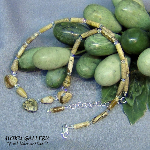 Vintage Natural Picture Jasper Gemstone Necklace - Hoku Gallery