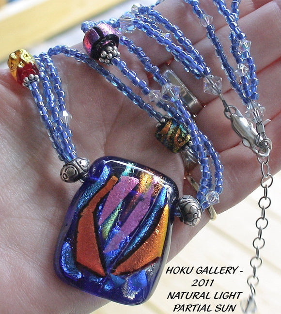 Dychroic Glass & Seed Bead Necklace - Blue Jewel - 18
