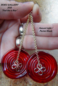 Red Glass Flat Swirled, Wire wrapped 14k Gold Filled Wire and Earwires - Hoku Gallery