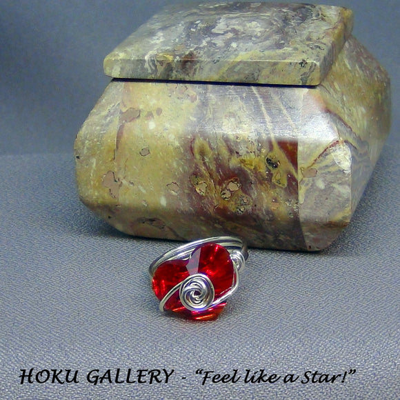 Wire wrapped / Red Heart Swarovski Crystal Button Ring - Hoku Gallery