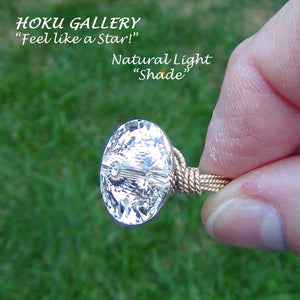 Wirewrapped Ring  - 16mm Rivoli Sew-on Button, Crystal Foiled - Hoku Gallery