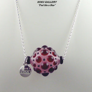 Lampwork Glass Hollow Bead, Sterling Silver Chain Necklace