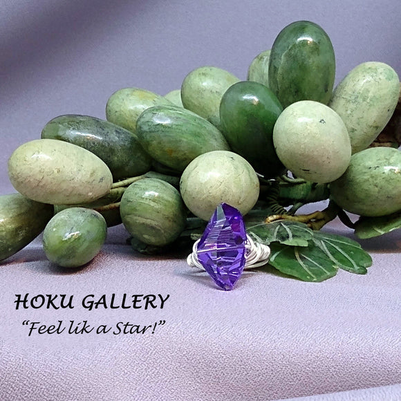 Wirewrapped Ring  - 24x14mm Tanzanite Galactic Swarovski Crystal, Sterling Silver - Hoku Gallery