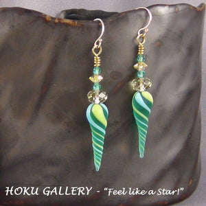"Lampwork Glass Twisted Daggers, Green, Sky Blue, Yellow, 2.5"" long - Hand Crafted Artisan Jewelry - Hoku Gallery"