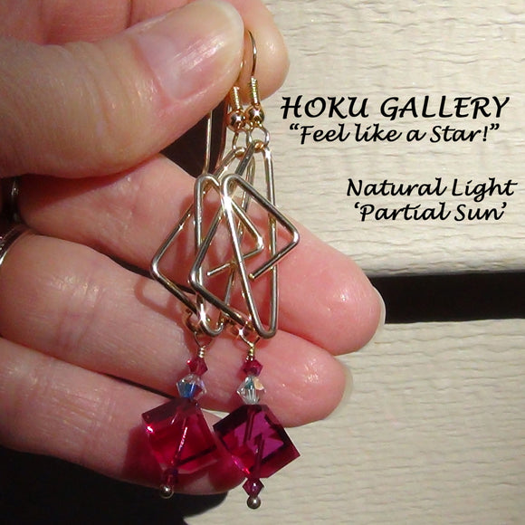 Wirewrapped Earrings, 14k Gold Filled Wire, Fuchsia Swarovski Cubes - Hoku Gallery