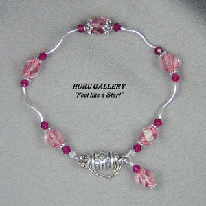 Sterling Silver Twists, Light Rose & Siam Swarovski Crystals Bracelet - Hoku Gallery