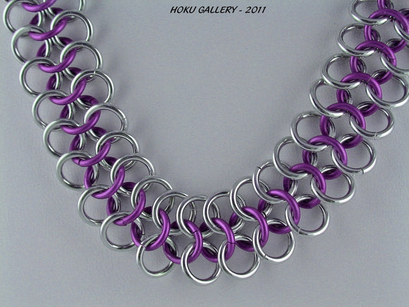 Purple Niobium and Shinny Aluminum Chainmaille Necklace
