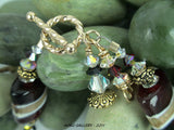 "Lampwork Glass Beads and Swarovski Crystals Bracelet - Christmas in May - 6.25"" - Hoku Gallery"