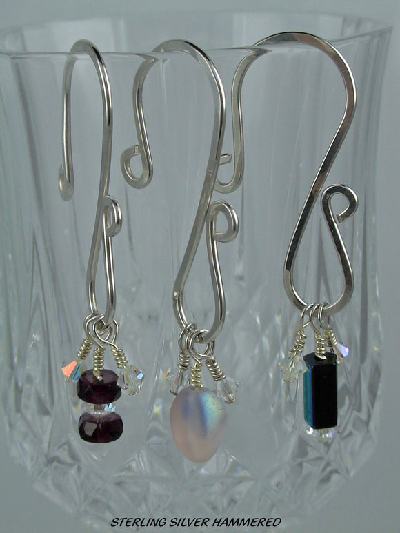 Wine Charms - Sterling Silver Hammered Wire Round Wire - set of 4