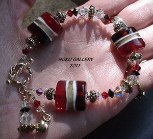 Lampwork Glass Beads and Swarovski Crystals Bracelet - Christmas in May - 6.25""