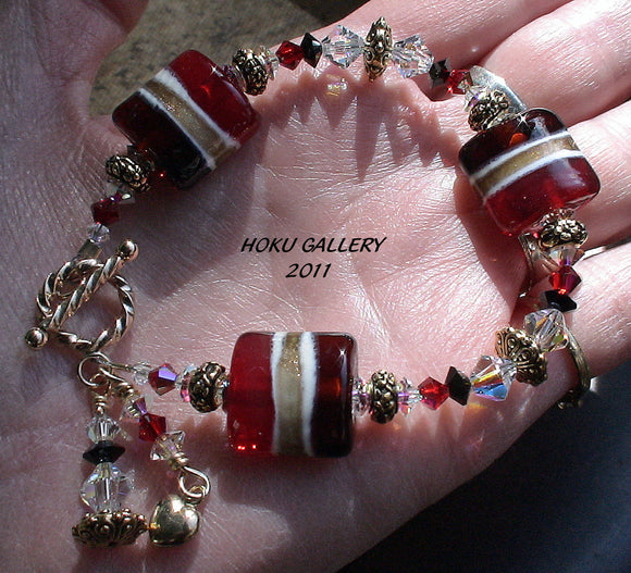 Lampwork Glass Beads and Swarovski Crystals Bracelet - Christmas in May - 6.25