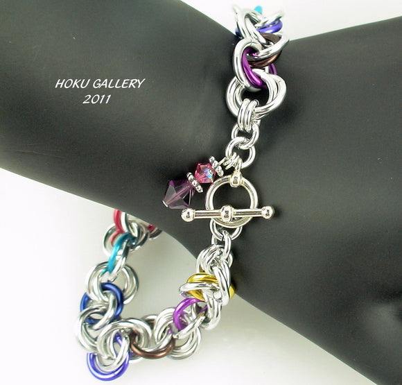 Shiny Aluminum and Multi Colored Anodized Aluminum Rings Chainmaille Bracelet - Hoku Gallery