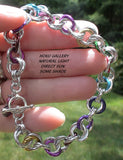 Shiny Aluminum and Multi Colored Anodized Aluminum Rings Chainmaille Bracelet