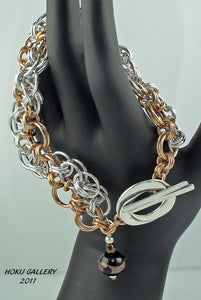 "Shiny Aluminum and Bronze Rings Chainmaille Bracelet - ""Do The Wave Helm"" - Hoku Gallery"