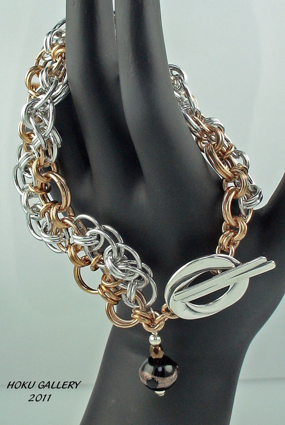 Shiny Aluminum and Bronze Rings Chainmaille Bracelet - Hoku Gallery
