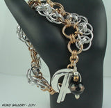 "Shiny Aluminum and Bronze Rings Chainmaille Bracelet - ""Do The Wave Helm"""