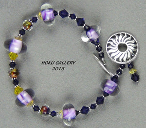 Purple Lampwork Glass Beads, Purple, Orange, Yellow Seeds, Swarovski Crystals Bracelet
