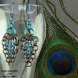 Chainmaille Earrings - Enameled Copper, Niobium Rings, Niobium Earwires - Hoku Gallery