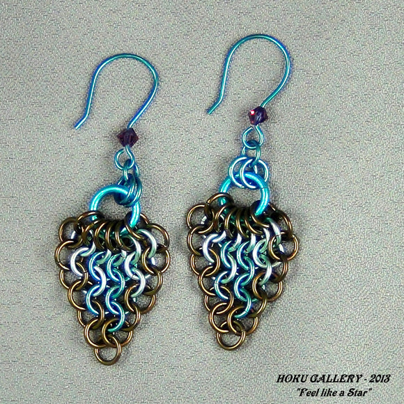 Chainmaille Earrings - Enameled Copper, Niobium Rings, Niobium Earwires
