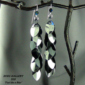 Dragon Scale Earrings - Black & Shiny Silver Aluminum, Black Anodized Aluminum Rings