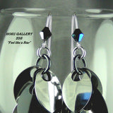 Dragon Scale Earrings - Black & Shiny Silver Aluminum, Black Anodized Aluminum Rings - Hoku Gallery