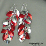 Dragon Scale Earrings - Aluminum, and Red Anodized Aluminum, Aluminum Rings - Hoku Gallery