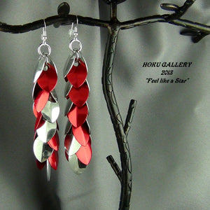 Dragon Scale Earrings - Aluminum, and Red Anodized Aluminum, Aluminum Rings