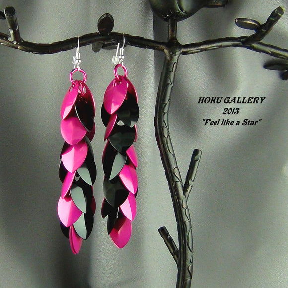 Dragon Scale Earrings - Pink and Black Anodized Aluminum , Pink Anodized Aluminum Rings - Hoku Gallery