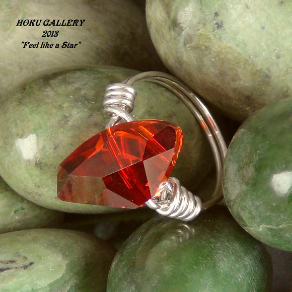 Magma Red Swarovski Crystals, Galactic Shape, Wirewrapped Ring, 18ga Sterling Silver Round Wire - Hand Crafted Artisan Jewelry - Hoku Gallery