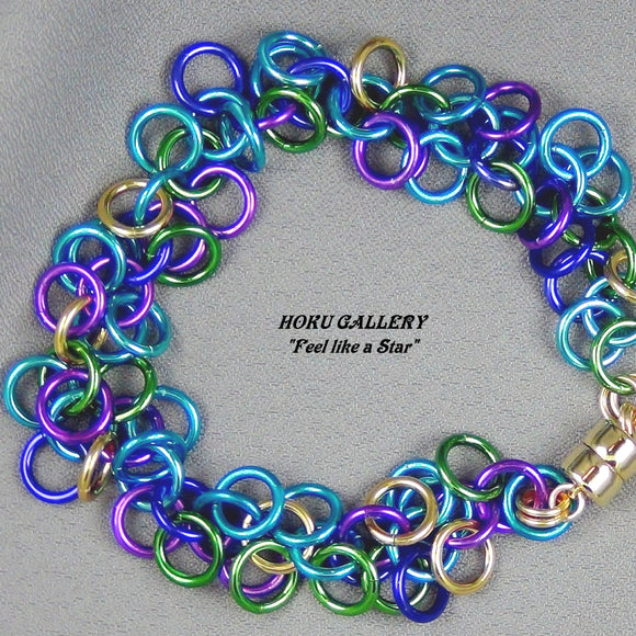 Random mix of Turquoise, Blue, Purple, Green, and Gold Anodized Aluminum Rings - Hoku Gallery