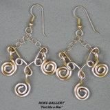 "Wirewrap, 14k Gold Filled Wire and Chain, Earrings  - 2.75"" - Hand Crafted Artisan Jewelry - Hoku Gallery"