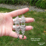 Chainmaille, Aluminum Rings, Swarovski Crystals, Sterling Silver  Earrings