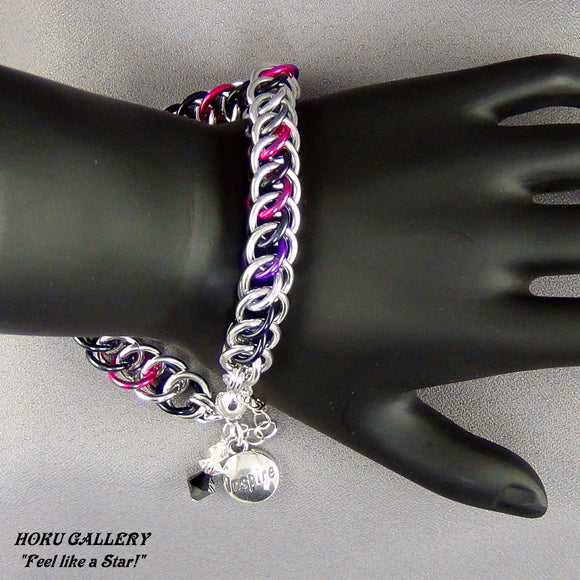 Chainmaille, Aluminum Rings, Multi Anodized Aluminum - Magnetic Clasp