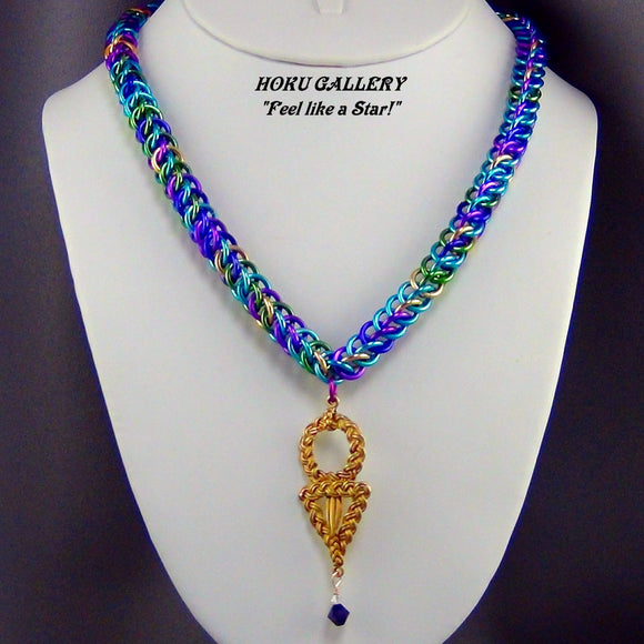 Chainmaille Necklace, Aluminum Rings, Peacock Color Mix - Hoku Gallery