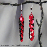 Dragon Scale Earrings, Black & Red Anodized Aluminum Scales and Rings