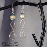 Wirewrap and Dichroic Bead Earrings, 14k Gold Filled Wire Wrapped - Hoku Gallery