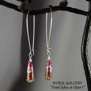 Red Vintage Cloisonne Teardrop Earrings - Hoku Gallery