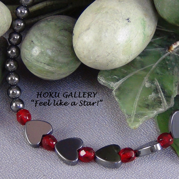 Children's Necklace, Hematite Flat Hearts, Rounds, Red Round Crystals