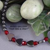 Children's Necklace, Hematite Flat Hearts, Rounds, Red Round Crystals - Hoku Gallery