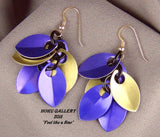 Dragon Scale Earrings - Purple & Gold Anodized Aluminum Dragon Scales Shaggy Earrings