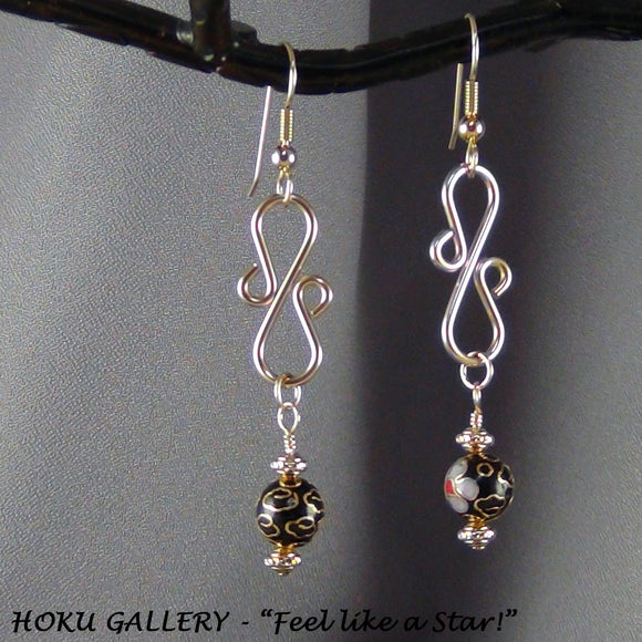 Black Vintage Cloisonne Earrings - Hoku Gallery