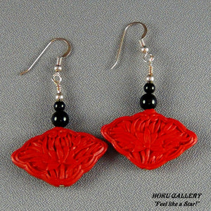 "Cinnabar Fan Beads, Black Onyx, 14k Gold Filled 1.25"" Earrings - Hoku Gallery"