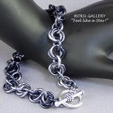 Chainmaille, Gunmetal Anodized Aluminum Rings, Unisex Toggle Clasp