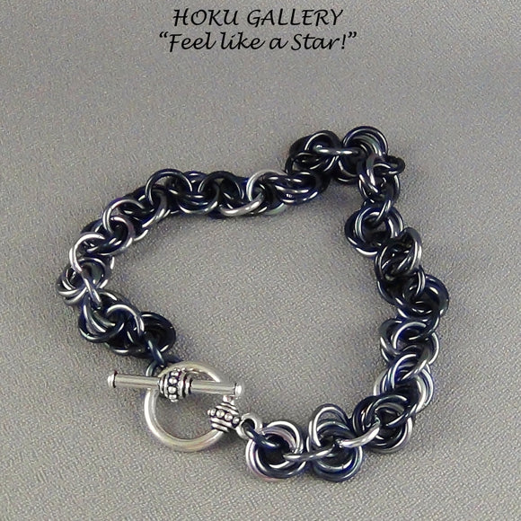 Chainmaille, Gunmetal Anodized Aluminum Rings, Unisex Toggle Clasp - Hoku Gallery
