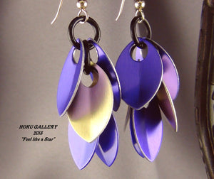 Dragon Scale Earrings - Purple & Gold Anodized Aluminum Dragon Scales Shaggy Earrings - Hoku Gallery
