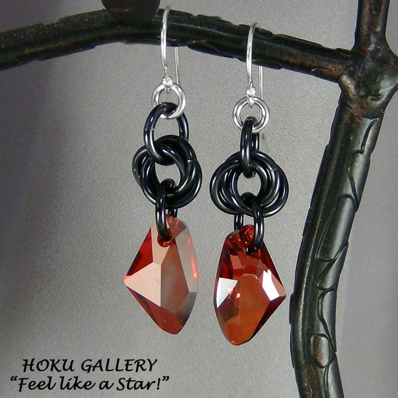 Chainmaille Earrings, Black Aluminum Rings, Red Magma Swarovski Crystal