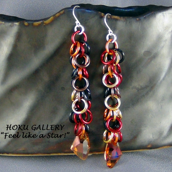 Chainmaille Earrings, Persian Blend Rings, Crystal Copper Swarovski Crystal - Hoku Gallery