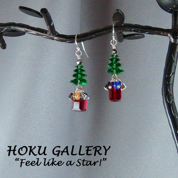 Swarovski Crystal Christmas Tree Earrings - Hoku Gallery