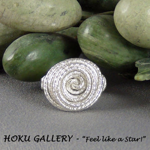 Wirewrapped Ring, 16ga Sterling Silver Textured Round Wire - Hoku Gallery