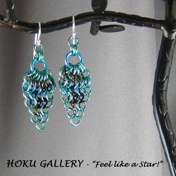 Chainmaille Earrings - Niobium Rings, Enameled Copper - Hoku Gallery